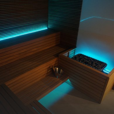 Dry sauna and steam room